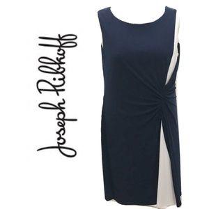 Joseph Ribkoff Size 14 Dress Navy Blue White Midi